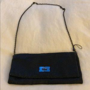 Black metallic chained clutch